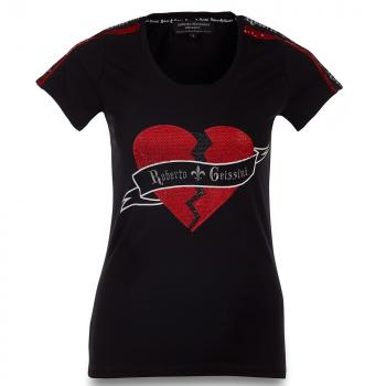 Roberto Geissini T-Shirt Broken Heart Women schwarz